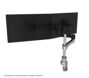 R-Go Zepher C2 Circulaire Monitorarm smartbar 2 schermen