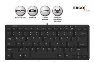 Ergoline compact toetsenbord incl. 2 USB poorten