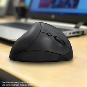 Ewent Draadloze ergonomische muis, USB nano ontvanger, 1600 dpi, zwart