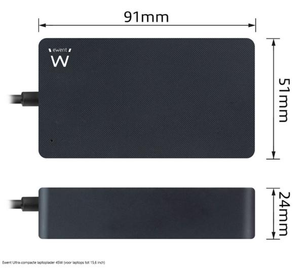 Ewent Ultra-compacte laptoplader 45W (voor laptops tot 15,6 inch)